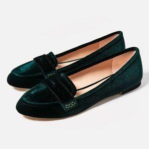 Zara Green Velvet Loafers